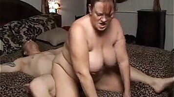 Sexy chubby mature cummed on and fucks massive cock and gets huge facial