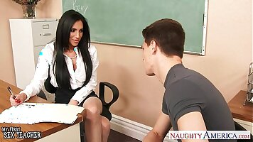 Big tits teacher hammered by student in classroom