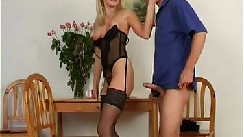 Czech blonde milf loves her pussy stuffed with plastic and obeys her master