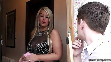 Chubby guy in black fishnet stockings fucking her blonde sexy date