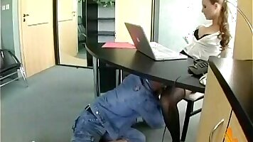 Sexy office secretary gets her pussy fucked after dick is shoved in the ass on the desk