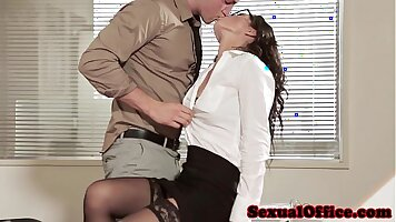 Cute office babe in stockings teasing