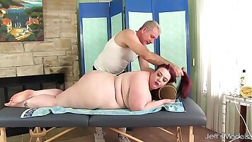 Busty BBW gets pounded on massage table