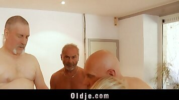 Blonde gangbanged by grandpas and headbelle toys