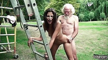 Girl Edina West Takes A Young Dick In Her Backyard