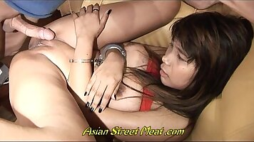 Curvy Tgirl and her friend Joan service some men at her thai