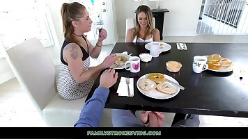 Teen step blonde gives footjob and toying her tits