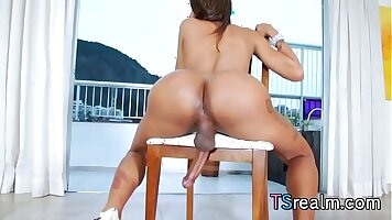 Latina shemale banged through car and her dick wrecked by constricted p