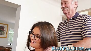 Grandpa fucked by young babe