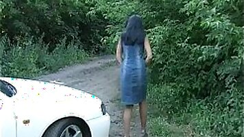 Flexible brunette chick pounded outdoors