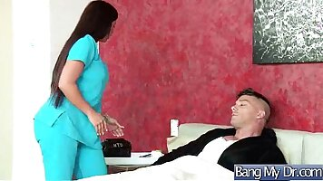 beauty brunette doctor fucks patient on the bed for a day