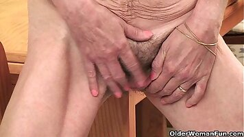 Aussie sucking and fucking granny fingering her hairy pussy